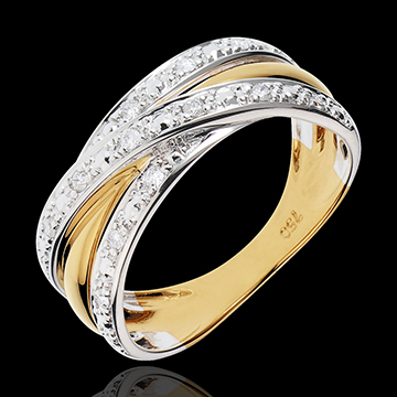 mariage Bague Saturne Illusion - or jaune, or blanc - 13 diamants