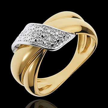 Edenly Bague Boucle d'Or or jaune pav�e - 6 diamants