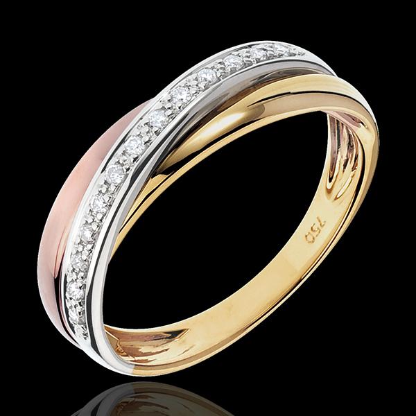 Anneau Saturne Diamant - 3 ors - trois ors 18 carats - Edenly - Edenly - Modalova