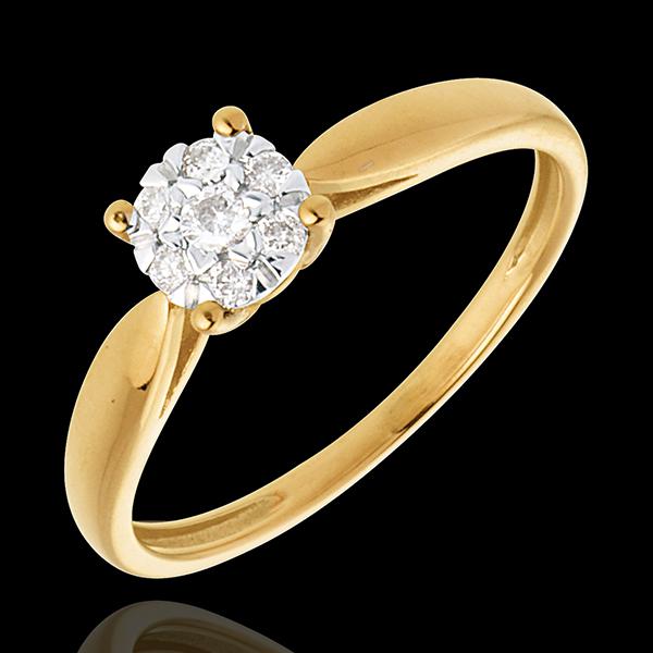 Bague roseau or jaune 18 carats sphère pavée - 7 diamants - Edenly - Edenly - Modalova