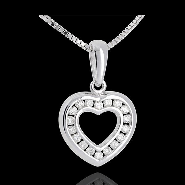Pendentif coeur en abyme - or blanc 18 carats pavé - 0.25 carat - 18 diamants - Edenly - Edenly - Modalova