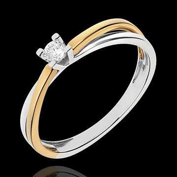 vente on line Solitaire Duetino or jaune-or blanc - 0.08 carat