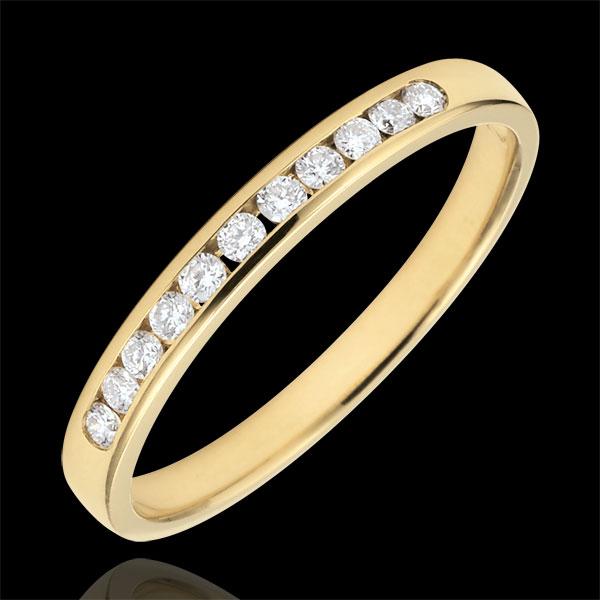 Alliance or jaune 18 carats semi pavée - serti rail - 0.15 carat - 11 diamants - Edenly - Edenly - Modalova