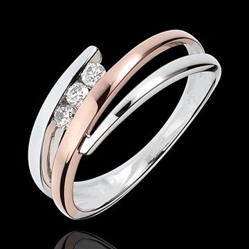 Bague de fiançailles Parfum d'aurore - Trio de diamants - or rose, or ...
