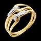 Bague agraphe or jaune pav�e