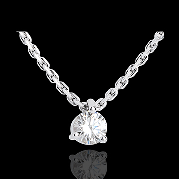 vente on line Collier solitaire or blanc - 0.31 carat
