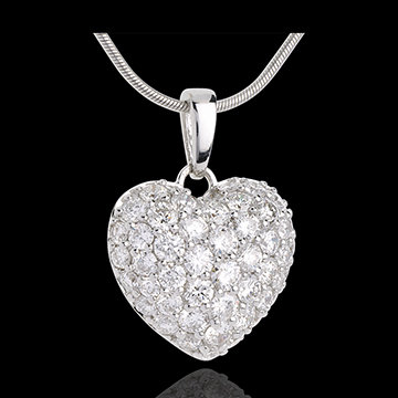 bijou or Pendentif coeur pav� or blanc et beli�re  - 2.04 carat - 50 diamants