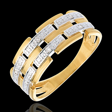 acheter on line   Bague canevas or jaune pav�e diamants  - 6 diamants