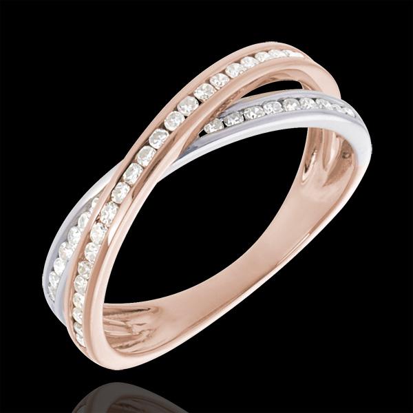 Bague diamant - or blanc et or rose 18 carats - Edenly - Modalova