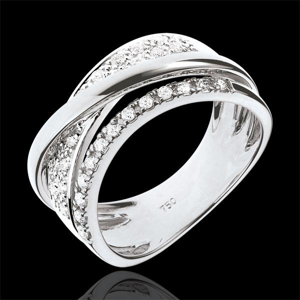 Bague Royale Saturne variation - or blanc 18 carats - Edenly - Edenly - Modalova