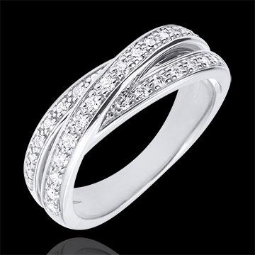 anneau saturne diamant or blanc 29 diamants 18 carats bijoux edenly. Black Bedroom Furniture Sets. Home Design Ideas