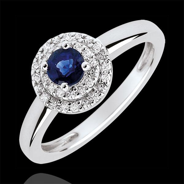 Bague de Fiançailles Destinée - Double halo - saphir 0.3 carat et diamants - or blanc 18 carats - Edenly - Edenly - Modalova