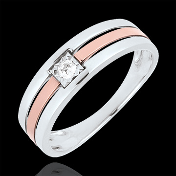 vente Bague Triple rangs or rose or blanc - diamant 0.062 carat