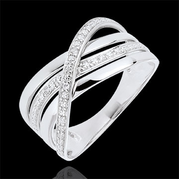 Bague Saturne Quadri , or blanc , diamants , 9 carats