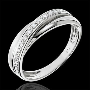 anneau saturne diamant or blanc 18 carats bijoux edenly. Black Bedroom Furniture Sets. Home Design Ideas