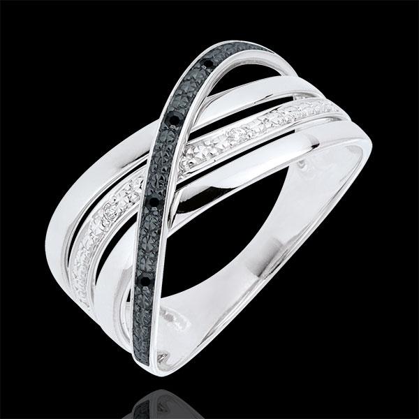 Bague Saturne Quadri - or blanc 9 carats - diamants noirs et blancs - Edenly - Edenly - Modalova