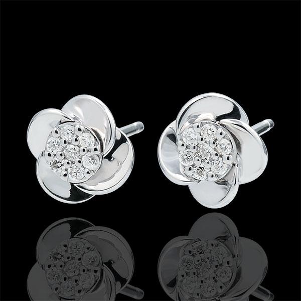 Boucles d'oreilles Ãclosion - Pétales de Rose - or blanc 18 carats - Edenly - Edenly - Modalova