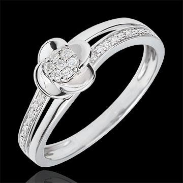 mariage Bague de fiançailles or blanc Pétales de Rose - 0.08 carat