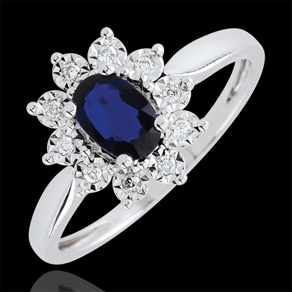 Bague Eternel Edelweiss - saphir et diamants - or blanc 18 carats - Edenly - Edenly - Modalova