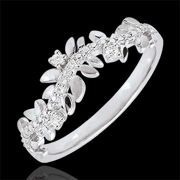 ventes en ligne Bague Jardin Enchanté - Feuillage Royal - diamant et or blanc - 18 carats