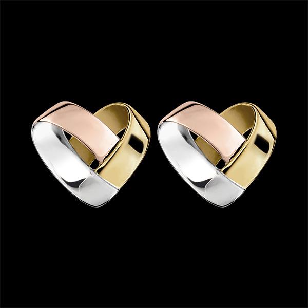 Boucles d'oreilles Puces Coeur Pliage 3 ors 9 carats