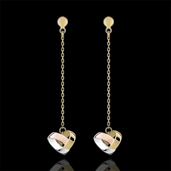 Boucles d'oreilles Pendantes Coeur Pliage 3 ors 9 carats