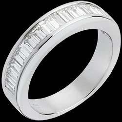Alliance or blanc semi pav�e - Diamants taille baguette sertis rail - 1 carat