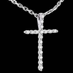 Paved cross pendant white gold - 17 diamonds