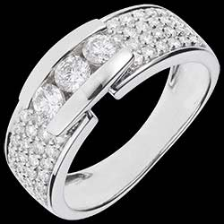 <a href=http://www.edenly.com/bijoux/bague-trilogie-serrure-pavee-or-blanc,1088.html>Bague Constellation - Trilogie pav�e or blanc - 0.84 carat - 59 diamants <br><span  class='prixf'>1390 &#x20AC;</span> (-39%) </a>