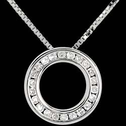 Pendulum necklace white gold paved - 22 diamonds