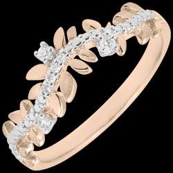 Bague Jardin Enchant� - Feuillage Royal - diamant et or rose - 18 carats