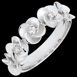 Bague Eclosion - Couronne de Roses - or blanc et diamants - 18 carats