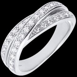 Anneau Saturne Diamant - or blanc - 29 diamants - 18 carats