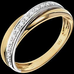 Ring Saturn Diamond - white gold, yellow gold - 9 carat