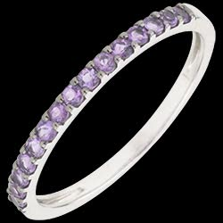 Ring Bird of Paradise - one line - white gold and amethyst