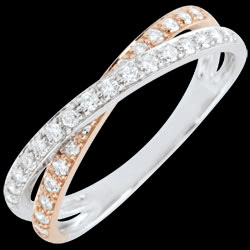 Alliance Saturne Duo double diamant - or rose et or blanc - 18 carats