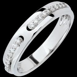 Alliance Promesse - or blanc et diamants - grand mod�le - 18 carats