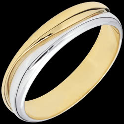 Ring Love - white gold and yellow gold wedding ring for men - 18 carat