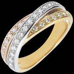 Anneau Saturne Diamant - 3 ors - 29 diamants - 18 carats