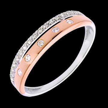 Edenly Anneau couronn� or rose-or blanc - 22 diamants