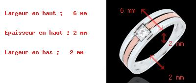 cadeau Bague Triple rangs or rose or blanc - diamant 0.062 carat